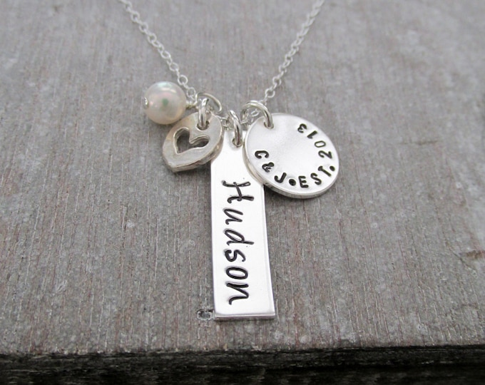 Necklace for Mom with Kids Name, Personalized Jewelry, Baby Shower Gift