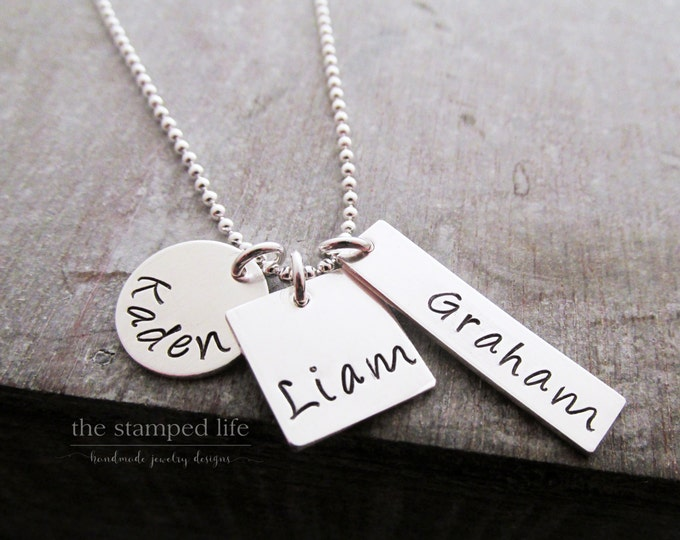 Family Name Necklace, Three Kids, Personalized Name Necklace, Three Names, Bar Charm Sterling Silver, Mothers Jewelry