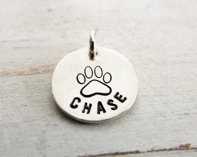 Add a Pet Charm to any necklace - Sterling Silver Paw Print Charm, Personalized, Dog Name Jewelry