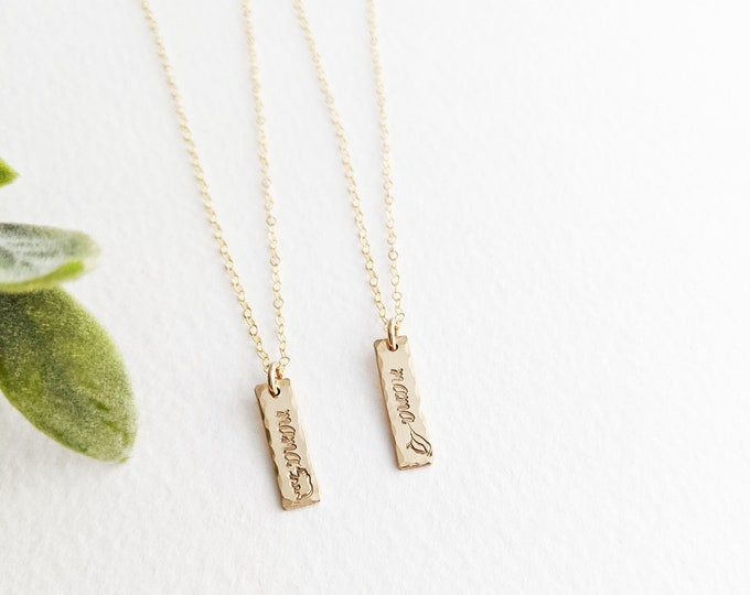 Mama Necklace   Gift for New Mom   Mothers Gift   Gold Bar charm   Dainty Necklace   Gift for Her