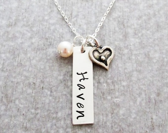 Bar Charm Name Necklace With Pearl and Tiny Heart Charm