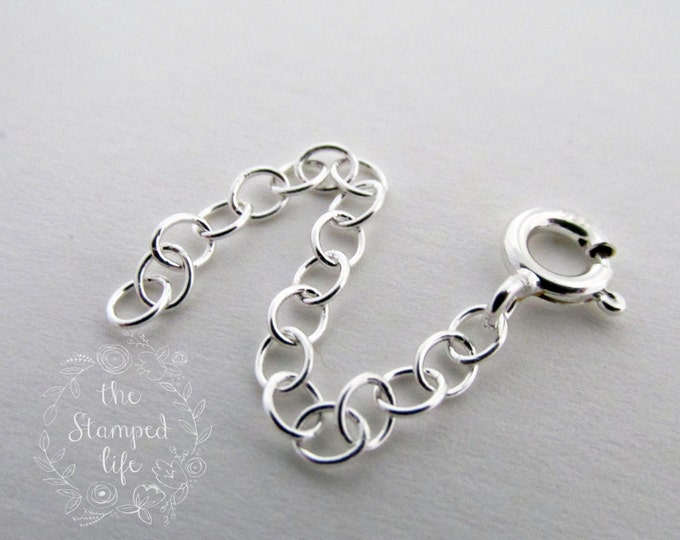 "2"" Chain Extender, Sterling Silver, Make Chain Longer, Sterling Chain, Jewelry Components, Jewelry Supplies, Cable Chain"