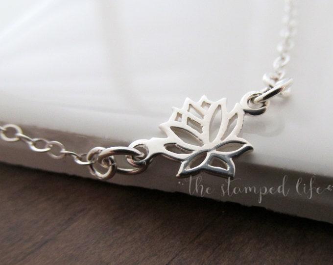 Lotus Sterling Silver Bracelet, Charm Bracelet, Lotus Flower, Yoga Bracelet, Yoga Jewelry, Gift Idea