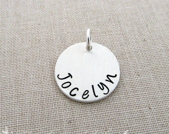"""Add A Charm, 5/8"""", Any Name, Sterling Silver"""