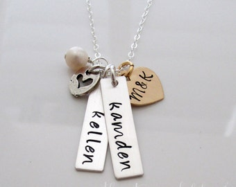 Bar Charm Name Necklace, Two Names, Heart Charm, Initial necklace, Personalized Necklace With initials
