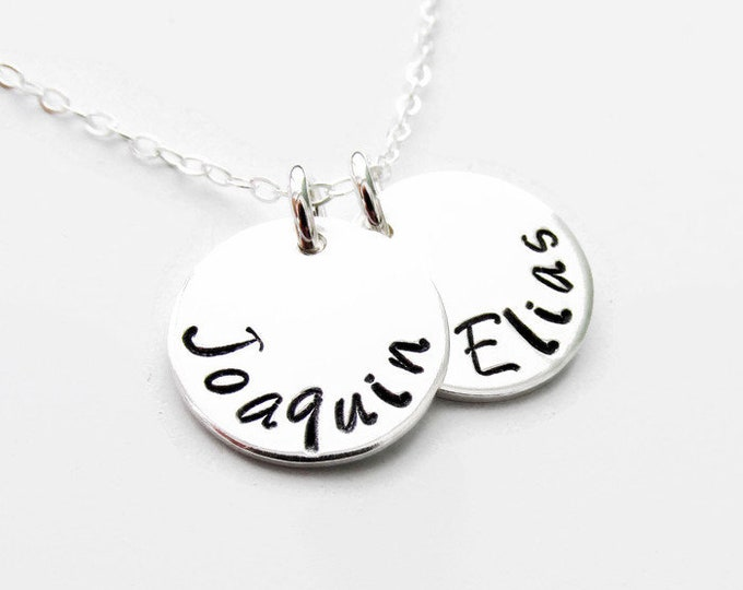 Silver Name Necklace, Hand Stamped Name, Personalized Jewelry
