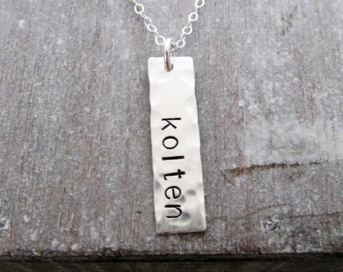 Hammered Bar Charm, Sterling Silver Hand Stamped Name Necklace, Personalized Jewelry