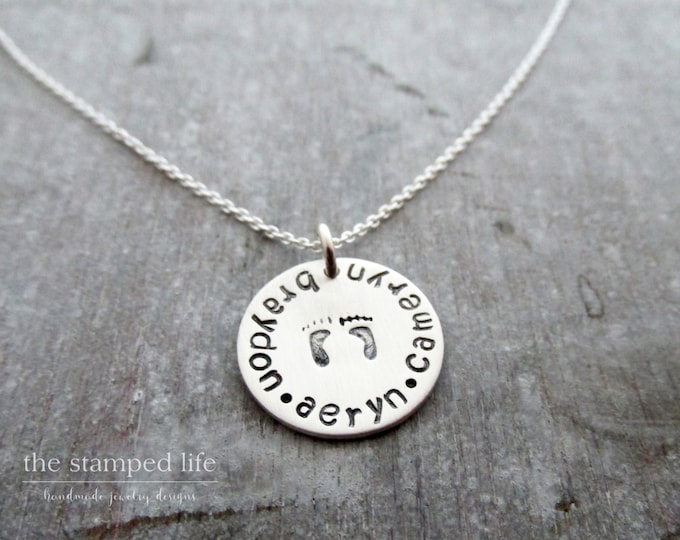 Necklace for mom with kids names, Multiple Names, Silver Charm, Personalized Jewelry