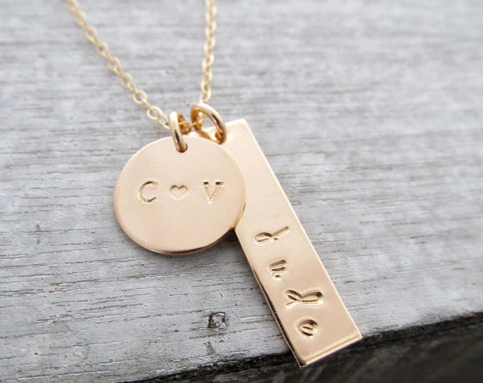 Gold Name Necklace, Initial Disc, Personalized Gold Charms, Gift for Her