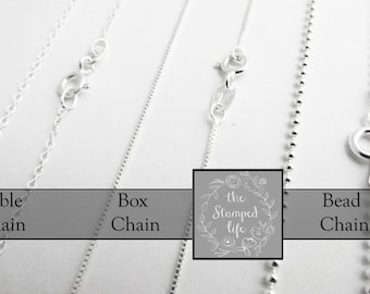 Sterling Silver Chain, Your Choice of Style and Length, Jewelry Supplies, Bead Chain, Cable Chain, Box Chain