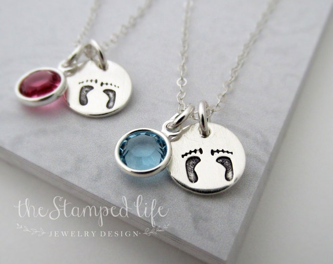 Tiny Baby Foot Prints With Birthstone Necklace, Sterling Silver, Hand Stamped