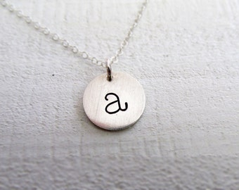 Silver Initial Necklace, Hand Stamped Sterling Charm Necklace, Lowercase Typewriter, Personalized Jewelry, Personalized Gifts for Women
