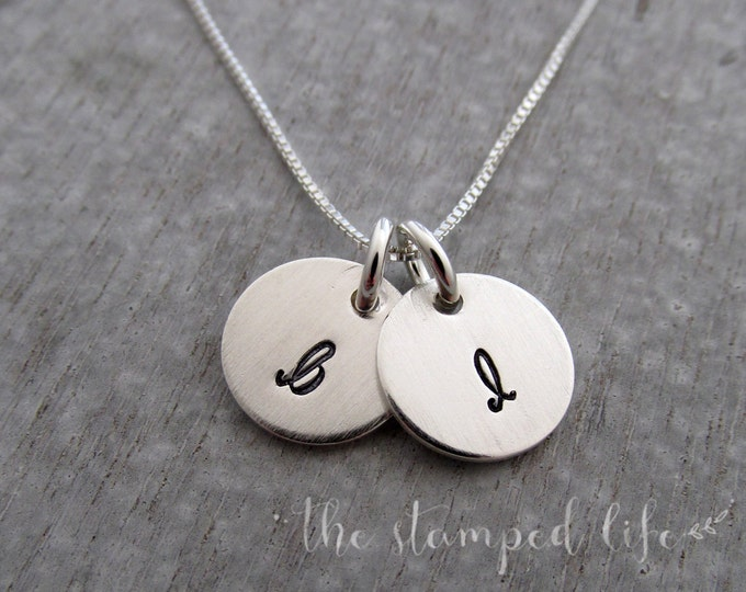Tiny Initial Necklace, Simple Silver Initials, Sterling Silver Discs, Engraved Charms