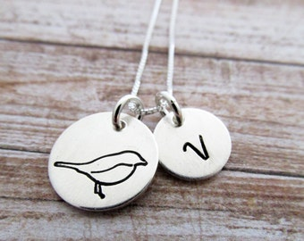 MaMa Bird Charm Necklace, Hand Stamped Personalized Jewelry, Initial Charm, Mama Necklace, Gift Idea