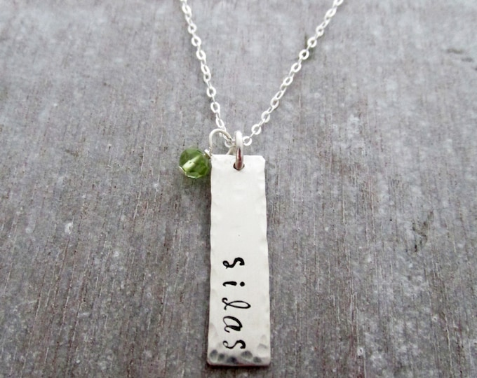 Bar Charm Name Necklace, Sterling Silver Hand Stamped Necklace, Charm Necklace with Birthstone