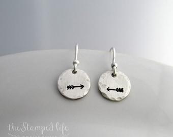 Silver Arrow Earrings, Rustic Hand Stamped Jewelry, Silver Disc Earrings, Gift Idea
