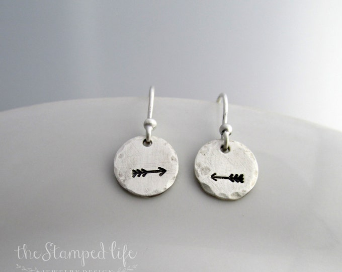 Sterling Silver Arrow Earrings, Rustic Hand Stamped Jewelry, Silver Disc Earrings