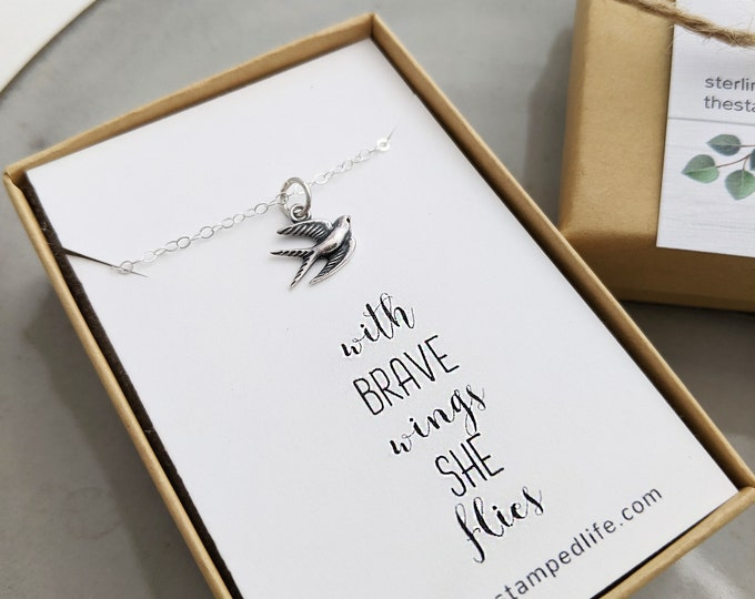 GRADUATION GIFT- With Brave Wings She Flies | Motivational Necklace | Bird Charm Necklace | Graduation Gifts | Gift for Her