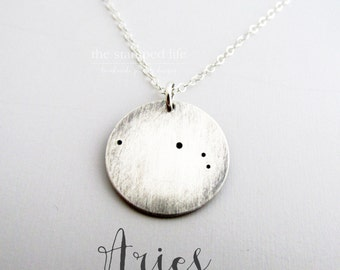 Constellation Necklace - Lunar Jewelry- Sterling Silver Necklace - Aries Necklace - Zodiac Necklace - Constellation Jewelry