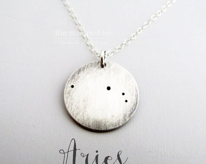 Aries Necklace - Lunar Jewelry- Constellation Jewelry, Sterling Silver Necklace
