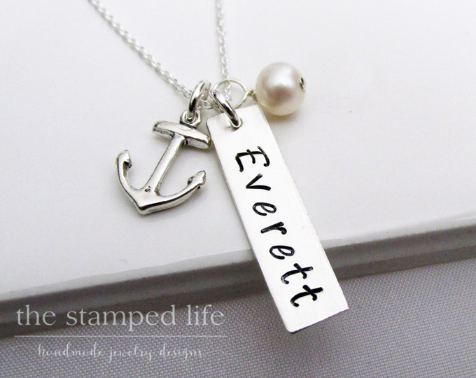 Anchor Name Necklace, Nautical Baby shower Gift, Personalized Necklace