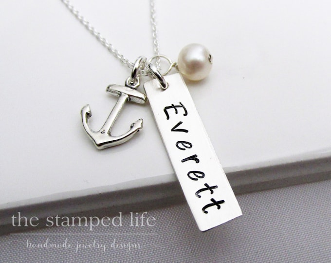 Personalized Name Necklace, Anchor Necklace, Mothers Day, Mom, Baby Shower Gift