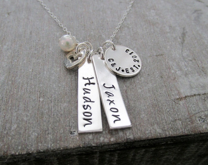 Personalized Necklace for Mom, Sterling Silver Name Plate, Silver Bar Charms, Custom Name Necklace