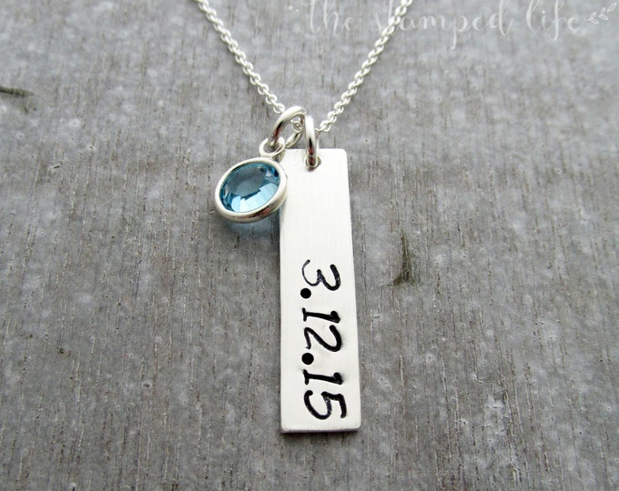 Bar Charm Name Necklace with Birthstone, Sterling Silver, Small Tag Charm