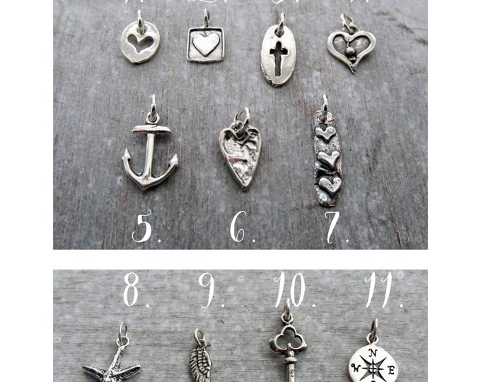 Add A Charm To Any Listing, Petite Sterling Silver Charm, Heart Charm, Cross Charm, Anchor Charm