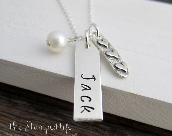 Personalized Bar Charm Necklace, Custom Name Charm, Vertical Bar CHarm,  Heart Charm and Pearl