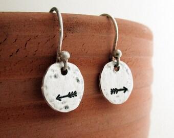 Sterling Silver Arrow Earrings, Rustic Hand Stamped, Jewelry