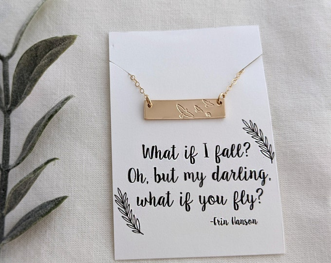 What if You Fly Necklace, Motivational Gift, Gift for Her, Inspirational Necklace, Gift Idea