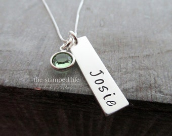 Name Necklace, Hand Stamped Jewelry, Bar Charm with Birthstone, Sterling Silver, Personalized Necklace