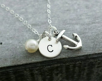 Sterling Silver Initial Necklace, Anchor Necklace, Freshwater Pearl, Beach Wedding, Bridesmaids gift