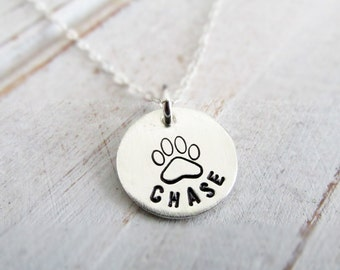 Pet Necklace for Women, Custom Jewelry, Dog Name Jewelry, Paw Print Necklace