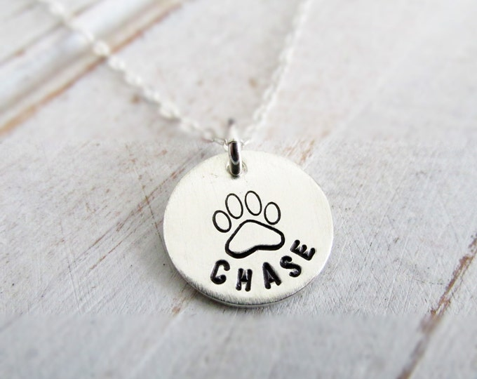 Sterling Silver Paw Print Charm Necklace, Personalized, Custom Jewelry, Dog Name Jewelry, Paw Print Necklace