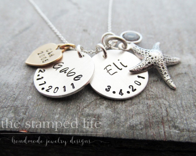 Personalized Necklace, Starfish Charm and Wedding Date, Mother, Mom, Personalized, Anniversary Gift
