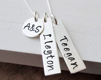 Sterling Silver Hand Stamped Name Necklace With Two Tags and Initial Charm, Mother, Mom, Personalized