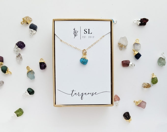 Raw Crystal Necklace | Birthstone Necklace | Raw Birthstone Gem | Birthstone Jewelry | Silver or Gold | The Stamped Life
