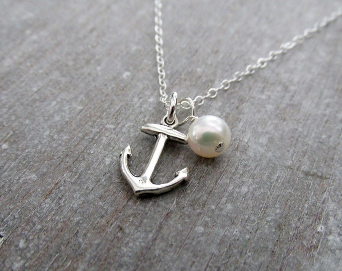 Anchor Necklace with Pearl, Beach Wedding Jewelry, Ocean Necklace for Women