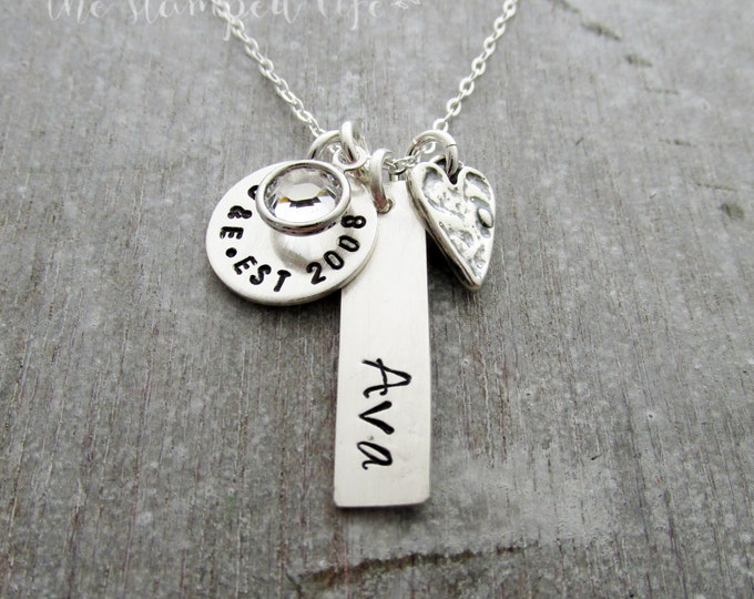 Personalized Charm Necklace, Sterling Silver, Mother Jewelry, Hand Stamped, Baby shower Gift
