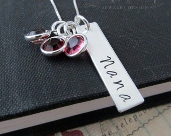 Personalized Mom Necklace, Mother, Nana or Grandma,  Necklace With Your Choice of Birthstones