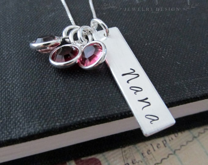 Personalized With Mom, Mother, Nana or Grandma,  Necklace With Your Choice of Birthstones