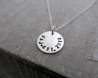 Initial Necklace, Wedding Date, Bridal Shower Gift, Wedding Gift, Anniversary Charm Necklace, Sterling Silver, Personalized Necklace