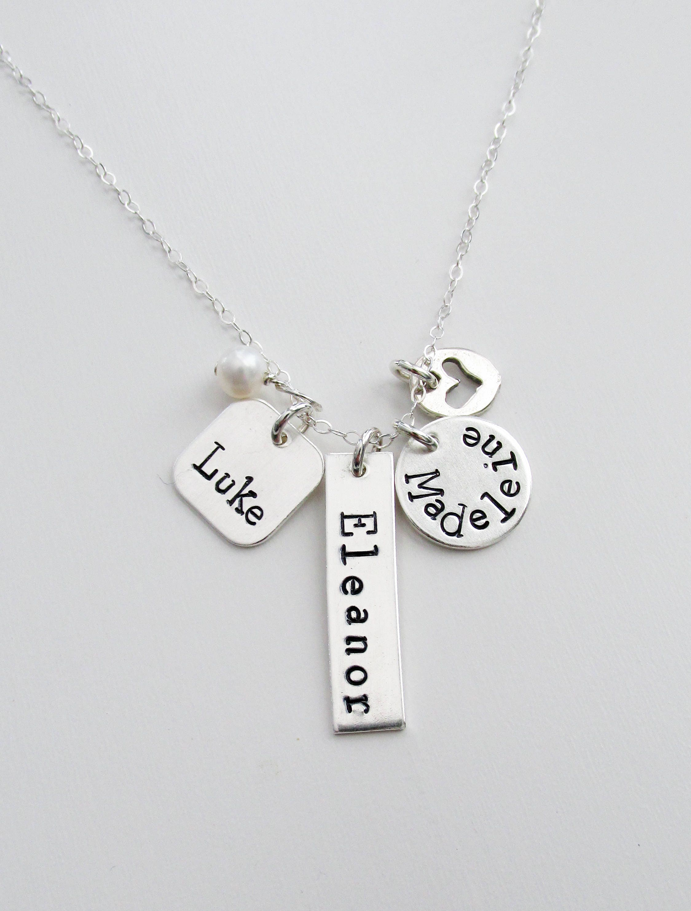 personalized charm necklace sterling silver mother jewelry mom