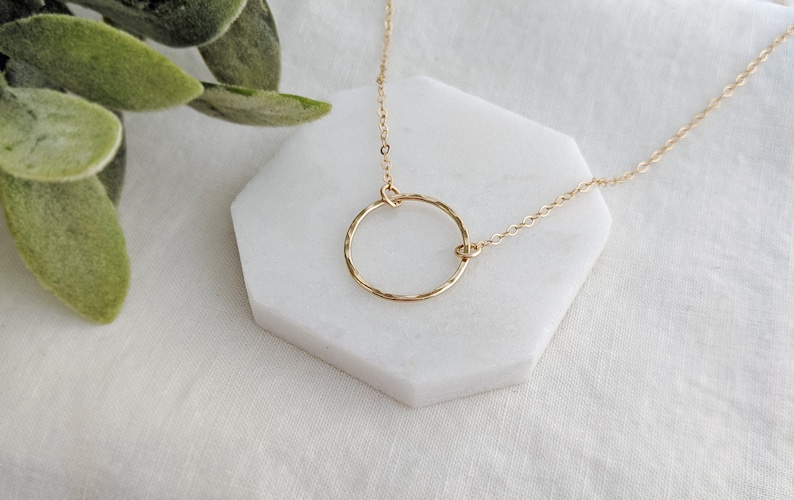 Gift Idea Gold Circle Necklace Minimal Necklace