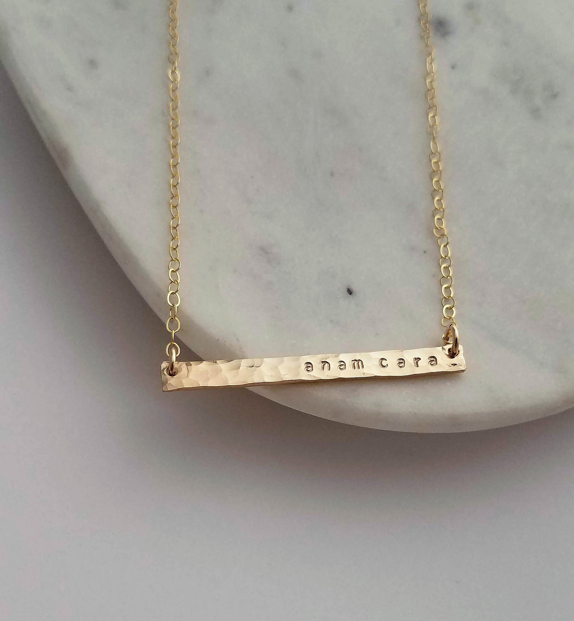 a3195239ce74f4 Anam Cara Necklace, Skinny Bar Necklace, Irish Jewelry, Best Friend ...