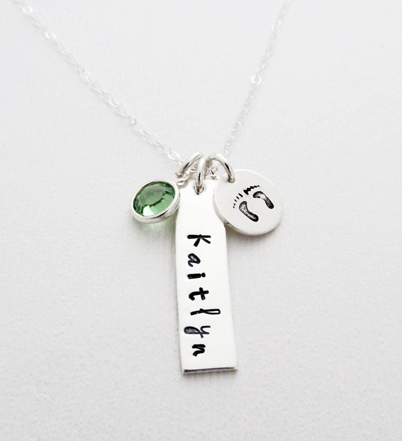 any name baby footprint charm necklace personalized charm baby