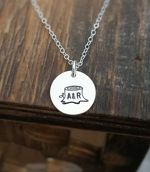 f5daff5247bd3 Tree Stump Initial Necklace, Sterling Silver Charm Necklace, Hand Stamped,  Initials, Anniversary Gift, Wedding jewelry