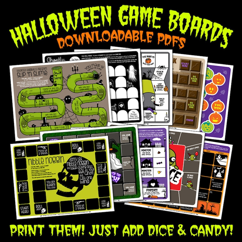 Beautiful PDF   10 Halloween Board Game Sheets! (10 Page Digital PDF File) For Kids